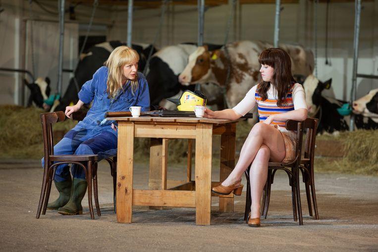 Johanna ter Steege (links) speelt Hanna, een boerin die het in de jaren zeventig, tijdens de ruilverkaveling, moeilijk heeft het hoofd financieel boven water te houden.  Beeld Herman Engbers