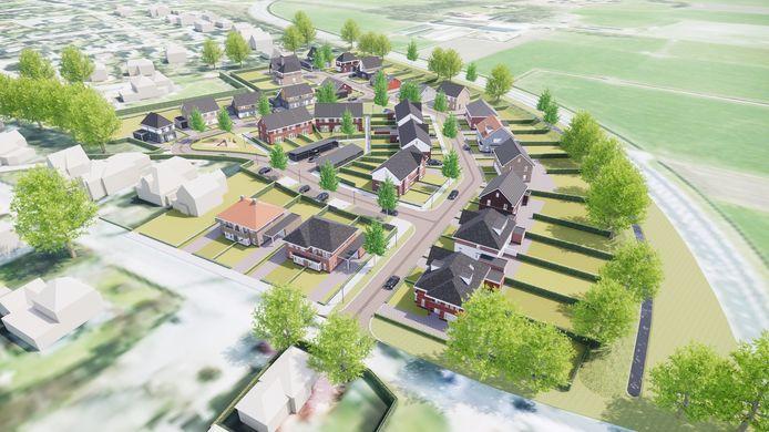 Schets van de nieuwe woonwijk de Esch.