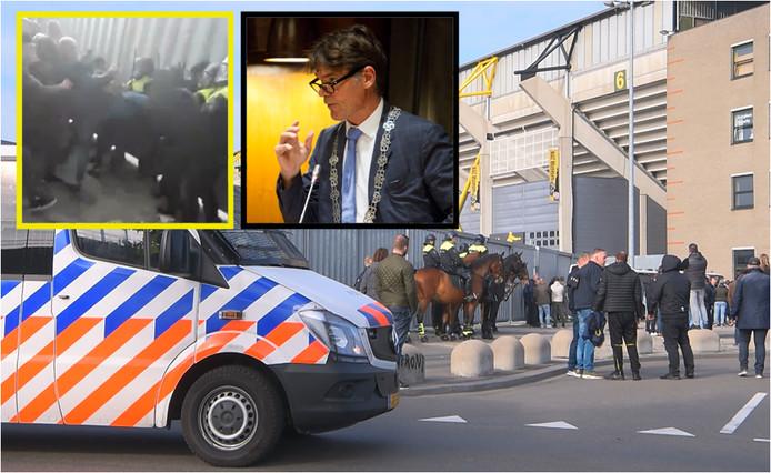 NAC-supporters en burgemeester Paul Depla zijn het niet eens over de oorzaak van de rellen na afloop van de wedstrijd tegen Willem II eerder deze maand.