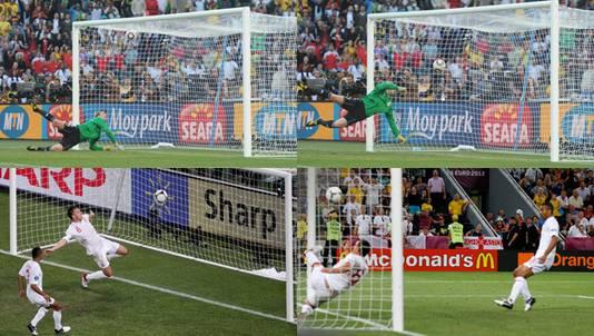 De twee bekendste gevallen waarbij de bal de doellijn is gepasseerd, maar niet werd toegekend. Boven de 'goal van Frank Lampard op het WK 2012 tijdens Engeland - Duitsland, onder het 'doelpunt' van de Oekraïner Marko Devic tegen dezelfde Engelsen op het EK 2012.