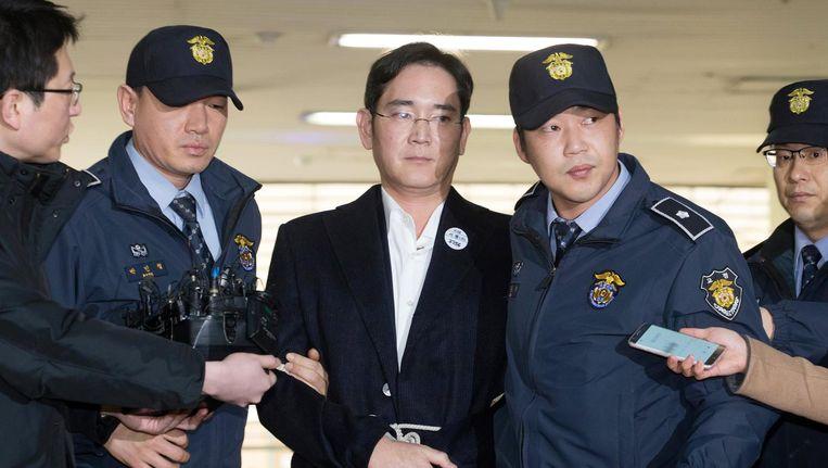 Lee Jae-yong na zijn arrestatie. Beeld epa