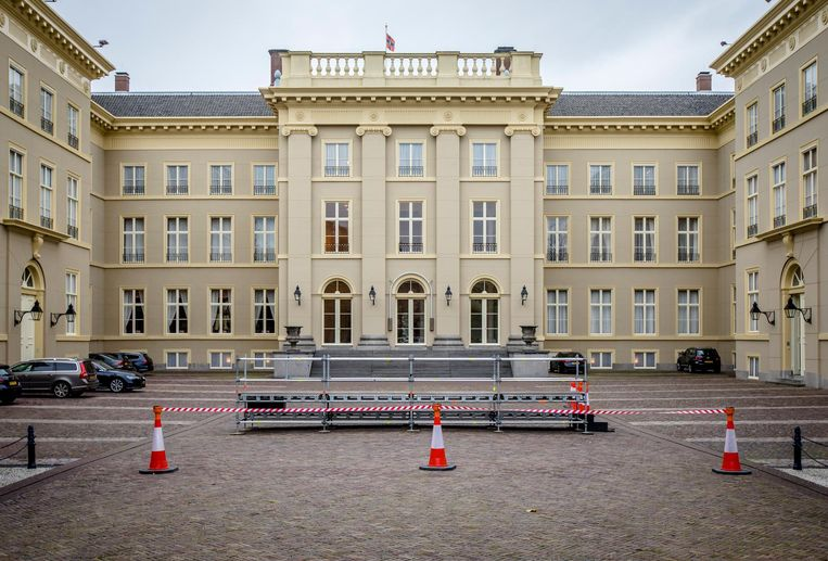 Het bordes aan de achterzijde van Paleis Noordeinde, een dag voor de bordesscene na de beëdiging van het kabinet Rutte III. Beeld anp