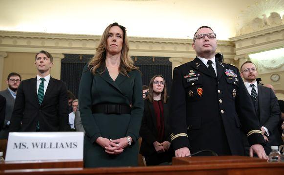 Jennifer Williams, een topmedewerker van vicepresident Mike Pence, en Alexander Vindman, de Oekraïne-expert bij de Amerikaans Nationale Veiligheidsraad, getuigen vandaag.