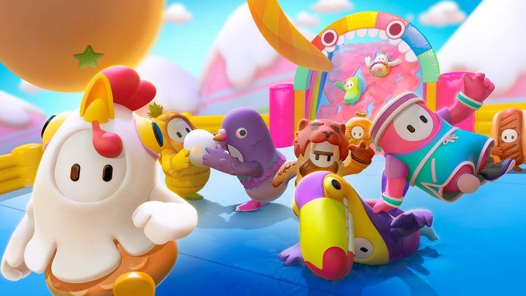 De gummybeer-achtige figuren uit 'Fall Guys', een van de spellen die het tijdens de lockdown goed deden.  Beeld 'Fall Guys' via Reuters