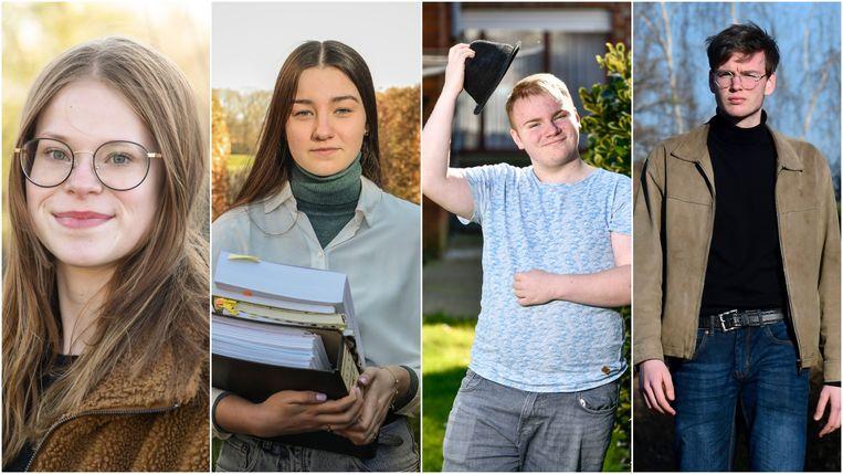 De vier gedupeerde laatstejaars, vlnr: Julie D'Hooge, Eline Klönhammer, Arno Kindt en Felix Rabou.