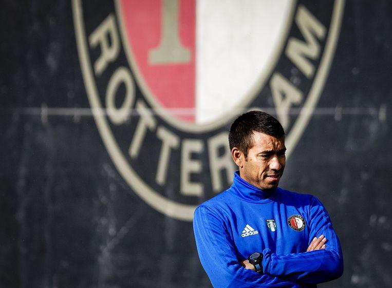 Giovanni van Bronckhorst, gisteren tijdens de training van Feyenoord in voorbereiding op het duel tegen Manchester City. Beeld ANP