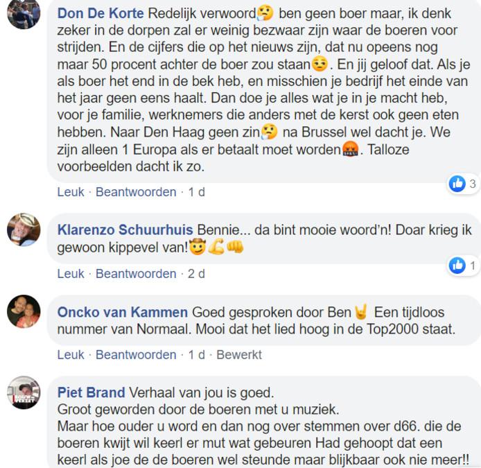 Reacties onde rhet Facebookbericht van Bennie Jolink waarin hij kerstacties van de boeren afraadt.