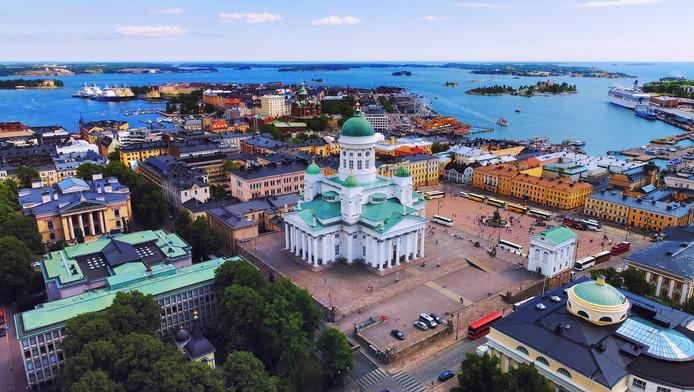 Vue aérienne sur Helsinki, capitale de la Finlande.