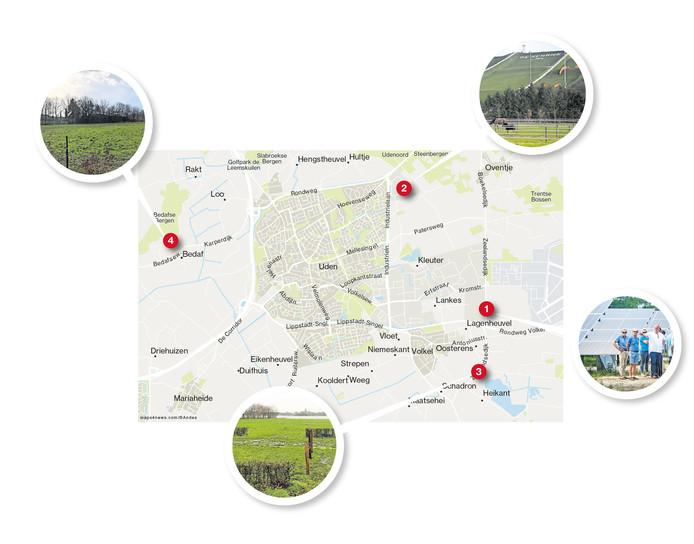 Het bestaande en de mogelijk toekomstige zonneparken in de gemeente Uden.