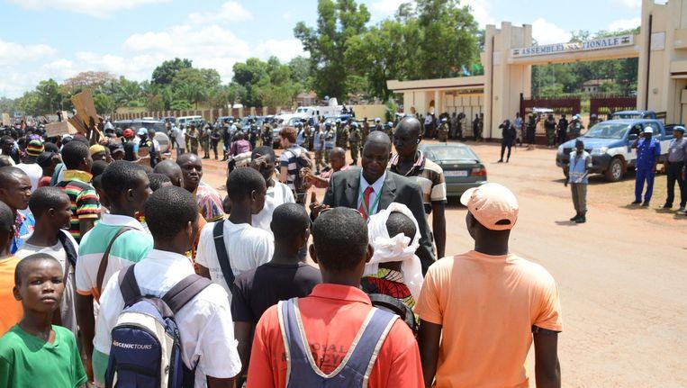 Demonstranten op straat in Bangui. Beeld afp
