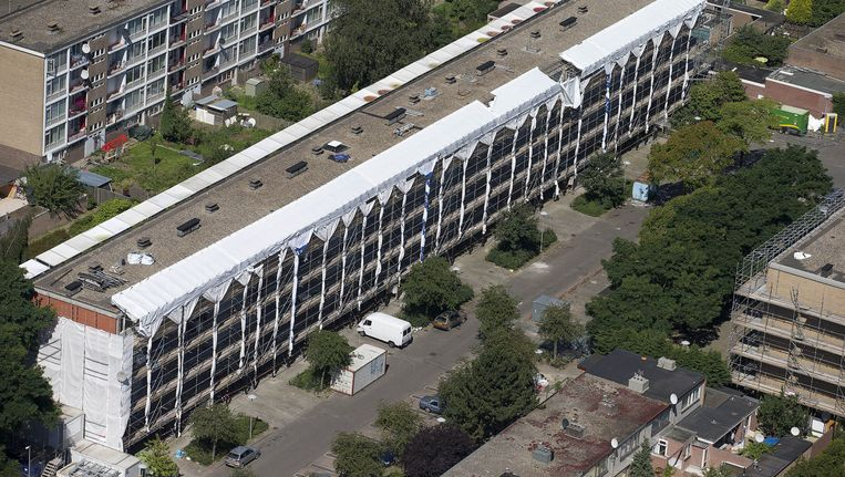 Luchtfoto van de Utrechtse woonwijk Kanaleneiland. Beeld ANP