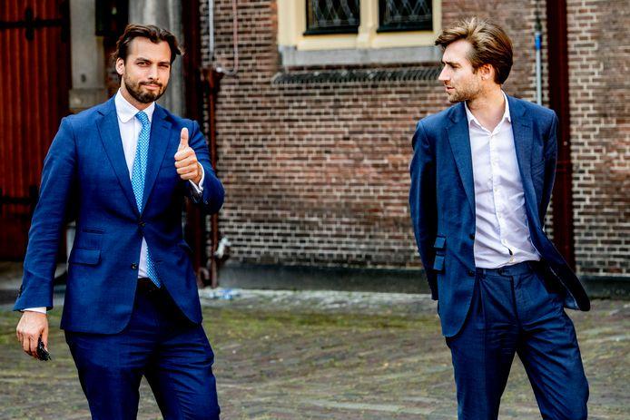 Thierry Baudet (FvD) (links), leider van  Forum voor Democratie, met rechterhand Freek Jansen.
