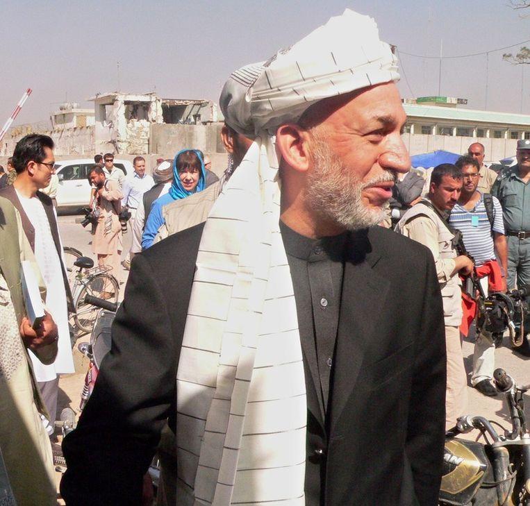 De Afghaanse president Hamid Karzai.