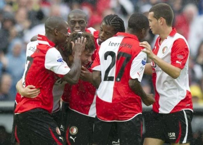 Spelers van Feyenoord juichen na een doelpunt. ANP