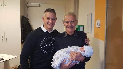 Baby, papa en opa op dezelfde dag geboren
