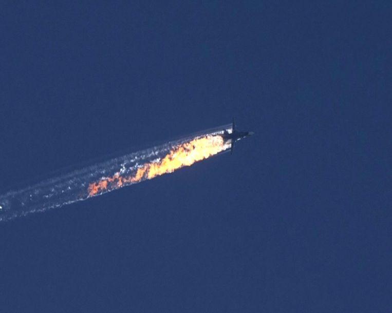 Het Russische vliegtuig dat door Turkije uit de lucht werd geschoten Beeld epa