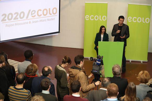 Ecolo-co-voorzitters Jean-Marc Nollet en  Rajae Maouane vanmiddag op de nieuwjaarsreceptie van hun partij.