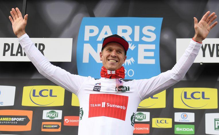 Cees Bol op 8 maart, tijdens de eerste etappe van Parijs-Nice. Beeld AFP