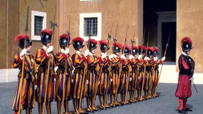 De Zwitserse Garde in het Vaticaan.