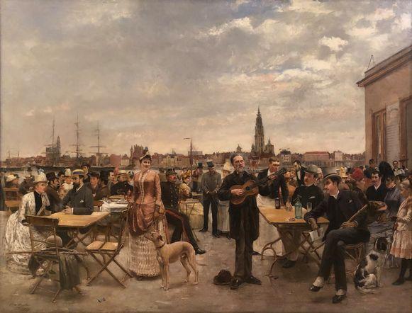 'Zondagmiddag op Sint-Anneke' van Louis Van Engelen die het werk schilderde in 1887.