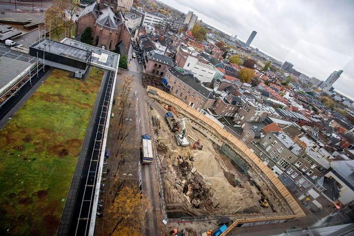 De bouw van de Primark is inmiddels in volle gang.