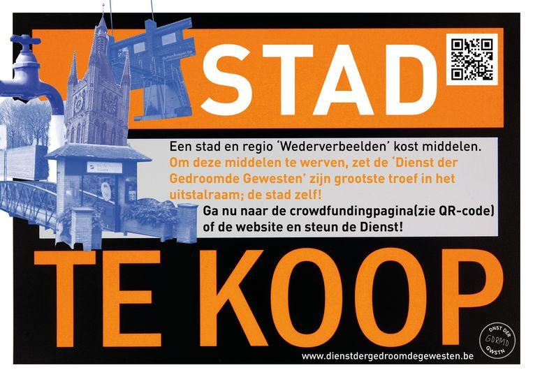 Kunstcollectief 'Dienst der Gedroomde Gewesten' stelt de stad Ieper 'te koop'.