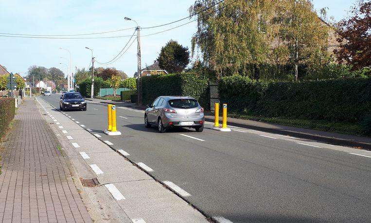 Sommige bestuurders geven gas bij om als eerste door de wegversmalling te geraken.