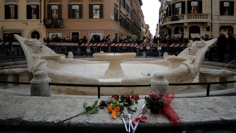 De beschadigde fontein in Rome. Beeld afp