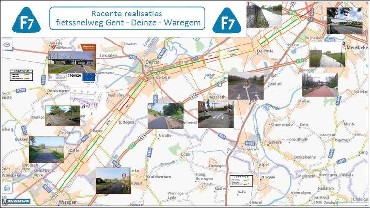 Er ontbreken nog een paar schakels in de ketting van de F7, zoals de fietsbrug over de Volhardingslaan (N35) in Deinze.