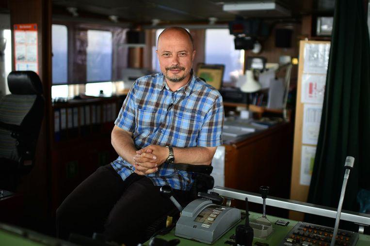 Alexander Moroz, de Wit-Russische kapitein van het voormalige vissersschip Aquarius. Beeld afp