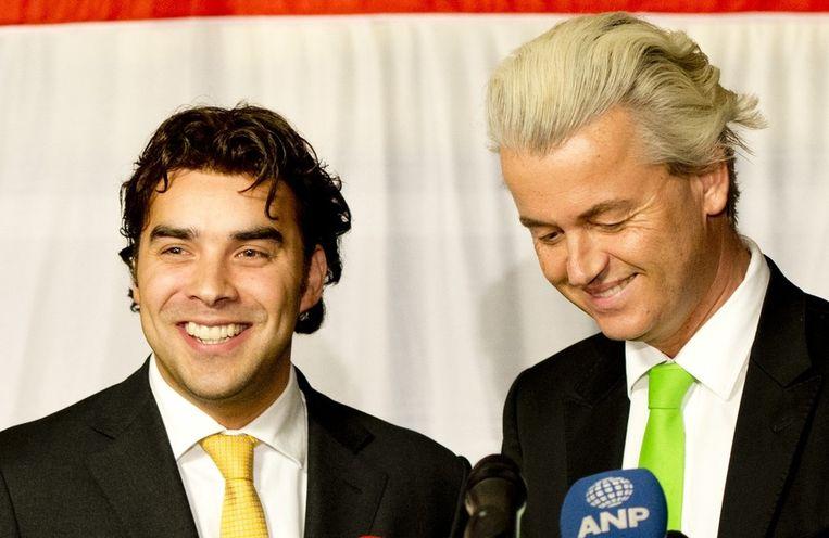 Lijsttrekker Leon de Jong (L) van de Haagse PVV en partijleider Geert Wilders Beeld anp