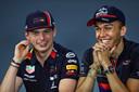 Max Verstappen met zijn nieuwe teamgenoot Alexander Albon.