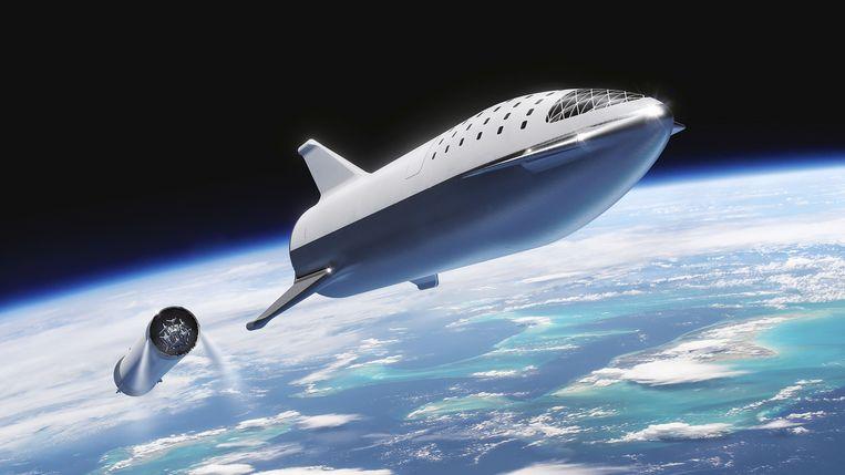 De Starship-raket waarmee Elon Musk privépassagiers naar de maan wil brengen.
