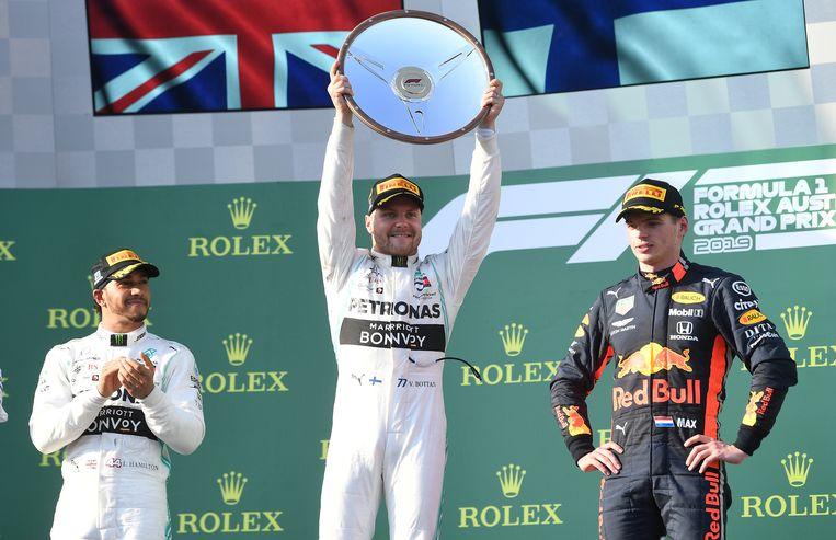 Hamilton, Bottas en Verstappen.