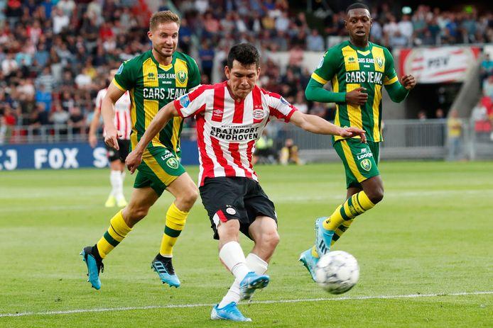 Hirving Lozano in zijn laatste wedstrijd voor PSV, het competitieduel met ADO Den Haag.