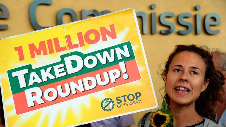 Een betoging tegen RoundUp in Brussel. Beeld afp
