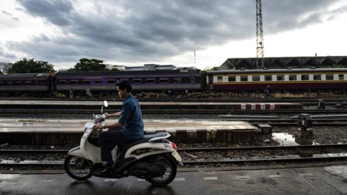 Het treinstation in Bangkok, waar het ongeluk plaatsvond.