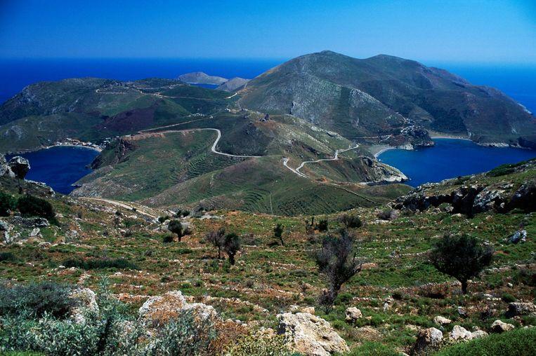 Mani, schiereiland op de Peloponnesos. Boermans:'Het meest onontgonnen gebied van Griekenland, waar zelfs Duitse toeristen niet durven te komen.' Beeld getty