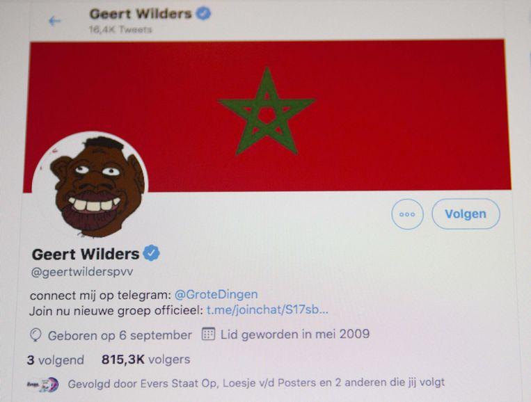 Een screenshot van de gehackte account van Geert Wilders. Beeld Hollandse Hoogte/EPA