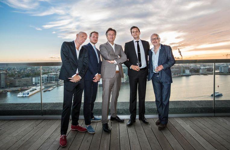Reservoir Dogs: Vincent Smits, Jorris Verboon, Ronald Ockhuysen, Ruben Koops en Marcel Wiegman, die er alleen bij mag als hij Mr. Pink wil zijn Beeld Eva Plevier