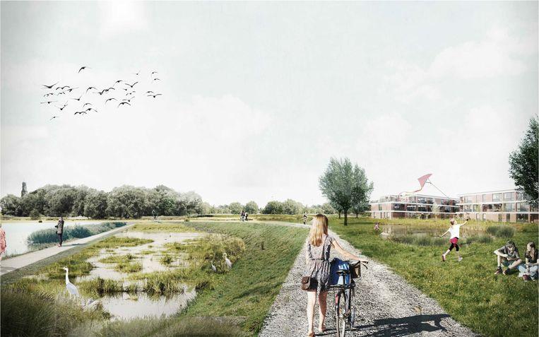 Een beeld van het toekomstige landschapspark aan de Burchtdam.