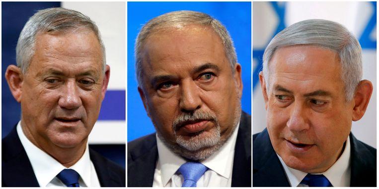 De drie politieke hoofdrolspelers in Israël, van links naar rechts: oppositieleider Benny Gantz, Avigdor Lieberman en premier Netanyahu.  Beeld null