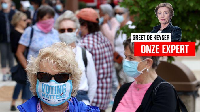 Mensen staan in Virginia in de rij om hun stem uit te brengen.