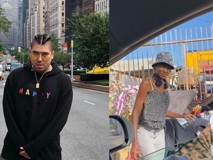 Amerikaanse man koopt kleren en bloemen voor dakloze vrouw