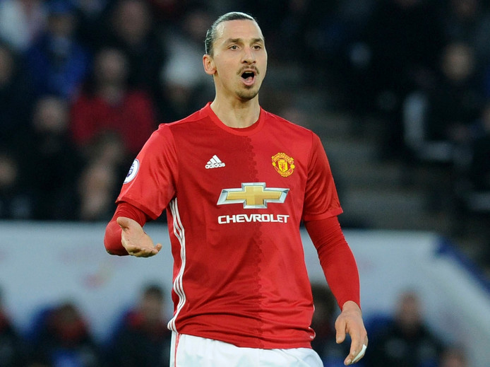 FILE - In this Sunday, Feb. 5, 2017 file photo, Manchester United's Zlatan Ibrahimovic gestures during their English Premier League soccer match against Leicester City at the King Power Stadium in Leicester, England. Zlatan Ibrahimovic has been released by Manchester United after one season at the club. The decision was announced on Friday, June 9 by the Premier League, which published the list of players being retained and released by clubs. (AP Photo/Rui Vieira, file)