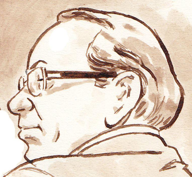 Raymond P. op een rechtbanktekening. Beeld anp