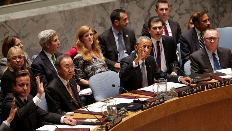 Cameron, Ban Ki-moon en Obama tijdens de V-raad vanavond. Beeld null