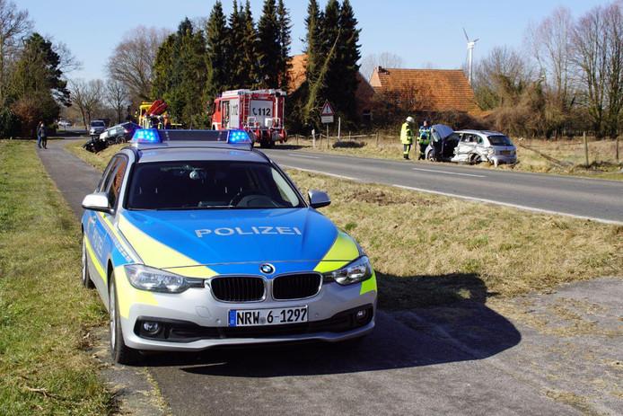 De situatie na het ongeval net over de grens bij Groenlo.
