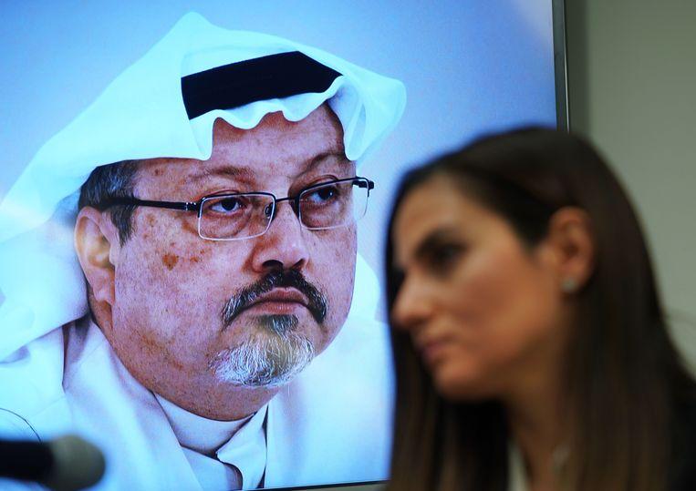 Een foto van de vermiste journalist Jamal Khashoggi.
