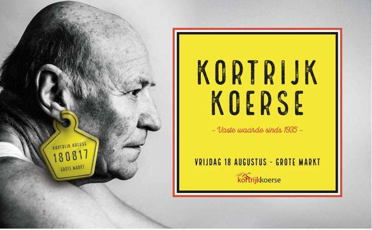 Johan Vanneste (70), het oudste lid van het bestuur van Kortrijk Koerse, siert het campagnebeeld.